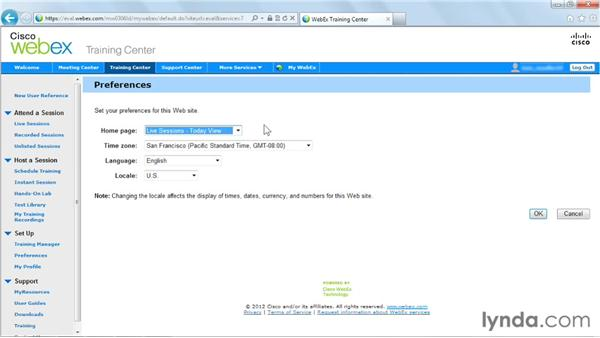 Setting your preferences: Up and Running with WebEx Training Center