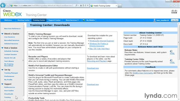 Accessing the downloadable tools: Up and Running with WebEx Training Center