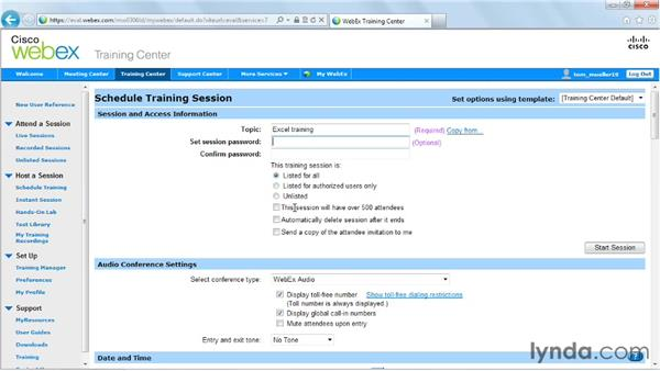 Scheduling and setting up a training session: Up and Running with WebEx Training Center