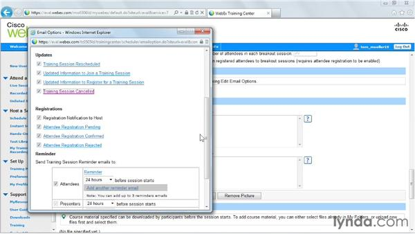 Editing email options: Up and Running with WebEx Training Center