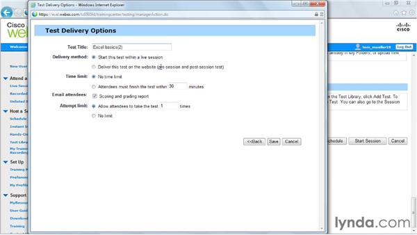Adding tests: Up and Running with WebEx Training Center