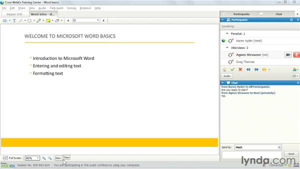 Viewing preloaded content : Up and Running with WebEx Training Center