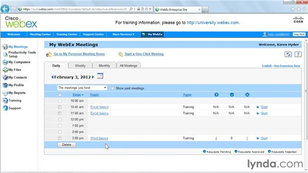 Logging in as a host and adjusting the session: Up and Running with WebEx Training Center