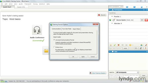 Modifying session settings: Up and Running with WebEx Training Center