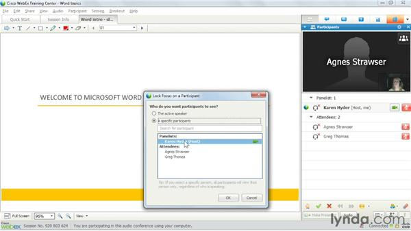 Activating audio and video controls: Up and Running with WebEx Training Center
