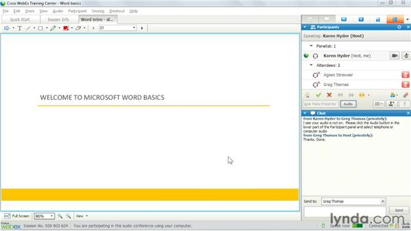 Testing and troubleshooting audio: Up and Running with WebEx Training Center