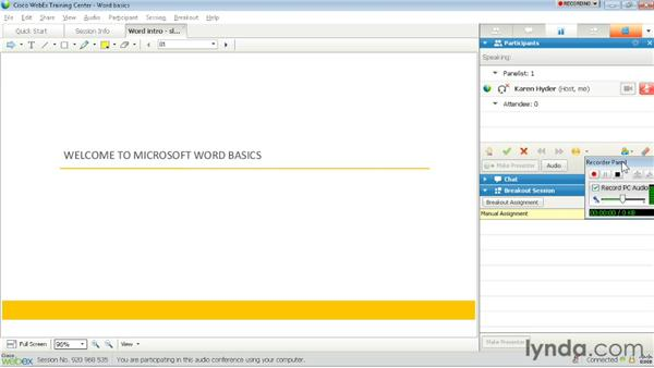 Recording sessions: Up and Running with WebEx Training Center