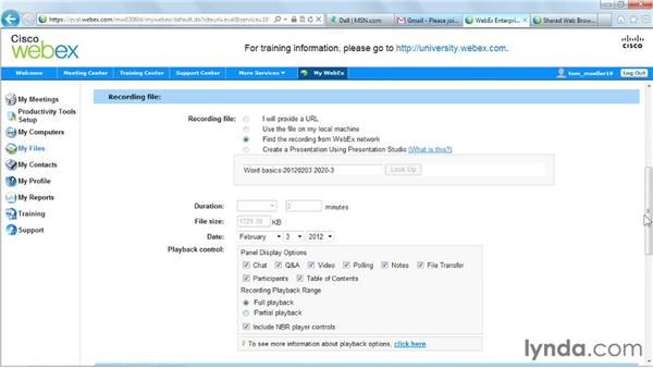 Managing network-based recordings: Up and Running with WebEx Training Center