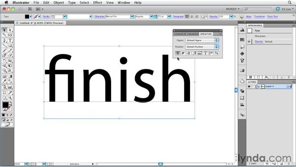 OpenType support and automatic glyph replacement: Illustrator Insider Training: Type and Text
