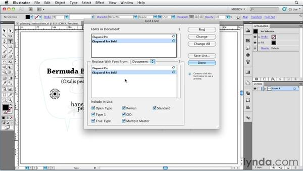 Using the Find Font feature: Illustrator Insider Training: Type and Text