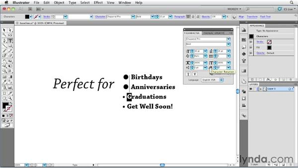 Using the Baseline Shift and Character Rotation options: Illustrator Insider Training: Type and Text