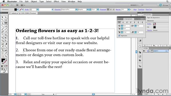 Setting indents and spacing: Illustrator Insider Training: Type and Text