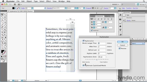 Understanding hyphenation and justification settings: Illustrator Insider Training: Type and Text