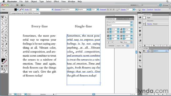 Understanding the composers in Illustrator: Illustrator Insider Training: Type and Text