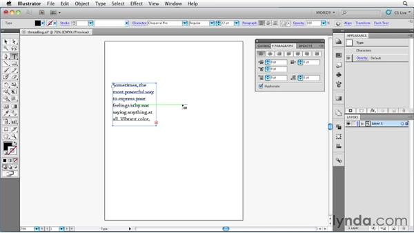 Threading text across multiple objects: Illustrator Insider Training: Type and Text