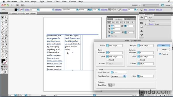 Adding multiple text columns in a single object: Illustrator Insider Training: Type and Text
