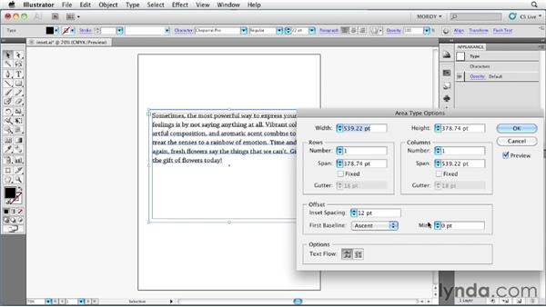 Specifying an inset for area type objects: Illustrator Insider Training: Type and Text