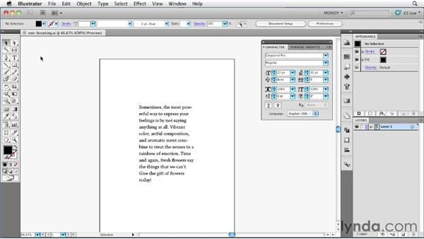 Creating non-breaking text: Illustrator Insider Training: Type and Text