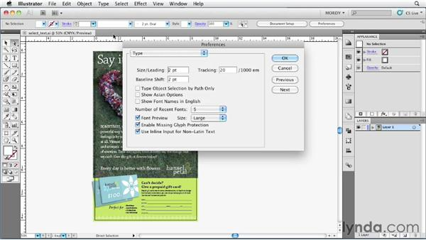 Selecting type objects easily: Illustrator Insider Training: Type and Text
