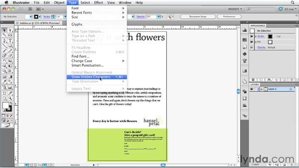 Understanding hidden text codes: Illustrator Insider Training: Type and Text