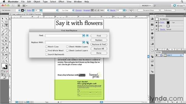 Changing text with Find and Replace: Illustrator Insider Training: Type and Text