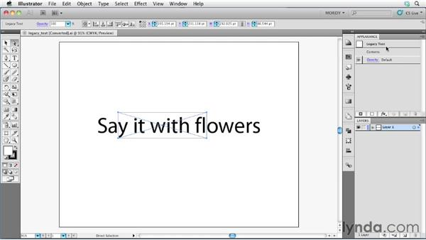 Updating legacy text: Illustrator Insider Training: Type and Text