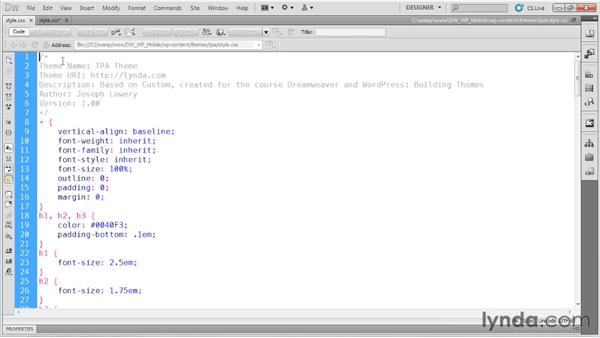 Setting up a child theme : Dreamweaver and WordPress: Building Mobile Sites