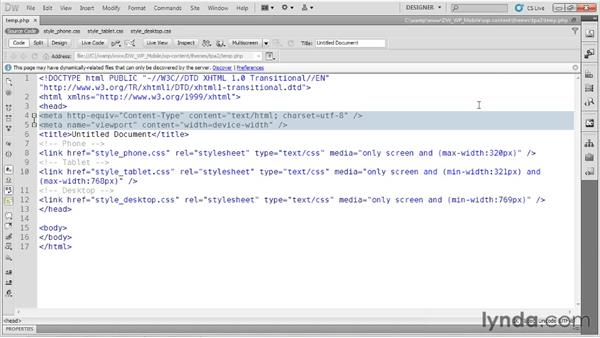 Setting up media queries: Dreamweaver and WordPress: Building Mobile Sites