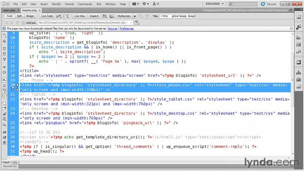 Working with changes in orientation: Dreamweaver and WordPress: Building Mobile Sites