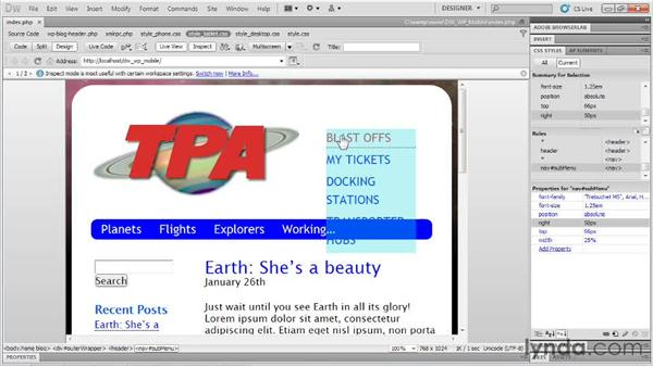 Modifying the header and the navigation: Dreamweaver and WordPress: Building Mobile Sites