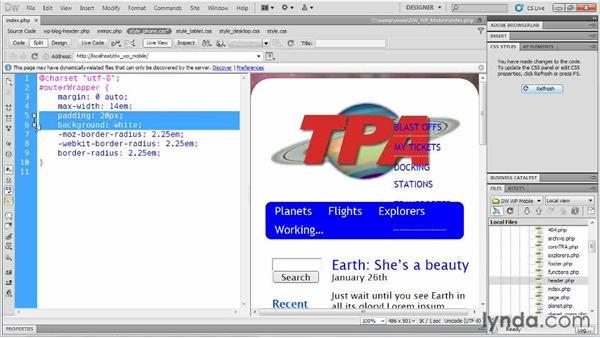 Handling oversized logos: Dreamweaver and WordPress: Building Mobile Sites