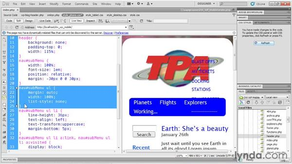 Manipulating content: Dreamweaver and WordPress: Building Mobile Sites