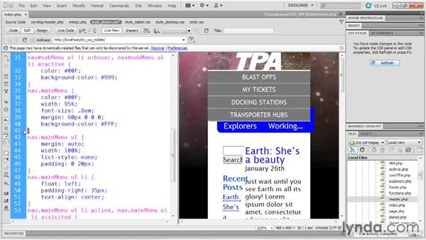 Restructuring navigation: Dreamweaver and WordPress: Building Mobile Sites
