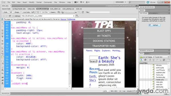 Making blog content more accessible: Dreamweaver and WordPress: Building Mobile Sites